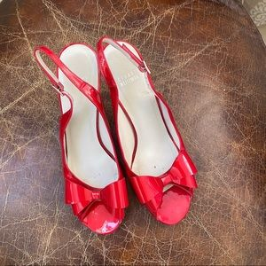 STUART WEITZMAN red  bow slingback heels 10